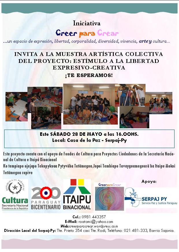 invitacion muestra final talleres de estímulo a libertad expresivo-creativa