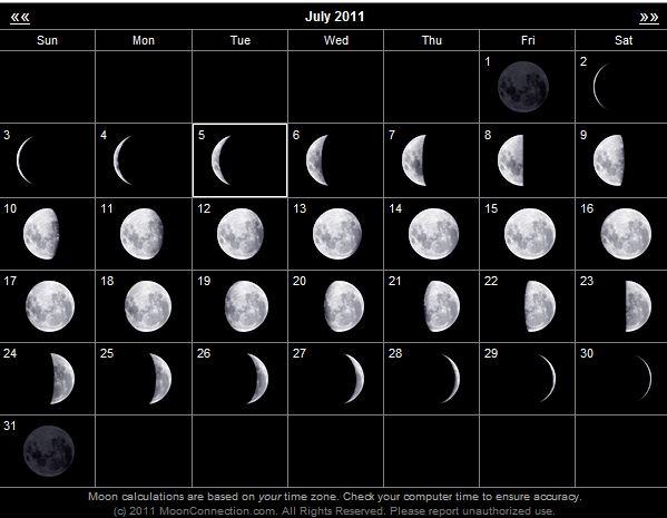 Calendario lunar julio 2011 Estamos en luna menguante